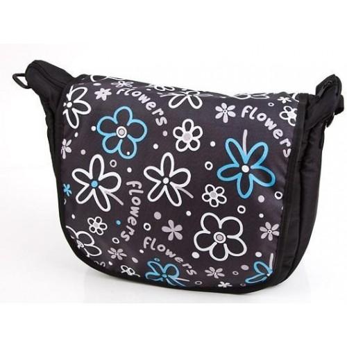 Baby Joy přebalovací taška LUX na kočárek černá/modrý květ Flower