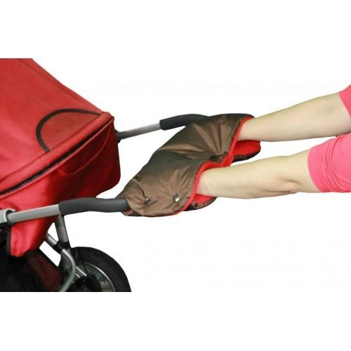 Emitex rukávník ke kočárku, hnědý/červený