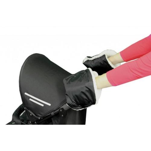 Emitex rukávník ke kočárku/rukavice, černý/kožich 50%