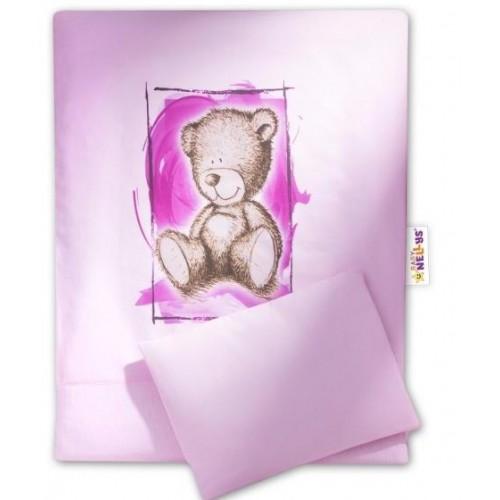 Baby Nellys Sada do kočárku komplet  4D Sweet Dreams by Teddy - růžový