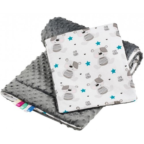 Oboustranný Set z Minky do kočárku New Baby teddy šedý s tyrkysovými hvězdičkami
