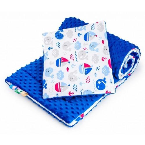 Oboustranný Set z Minky do kočárku New Baby moře modrý