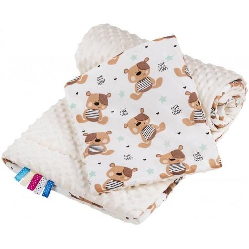 Oboustranný Set z Minky do kočárku New Baby teddy béžový