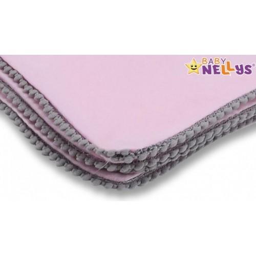 Baby Nellys Letní deka s mini bambulkami, jersey, 100 x 75 cm - růžová/šedý lem