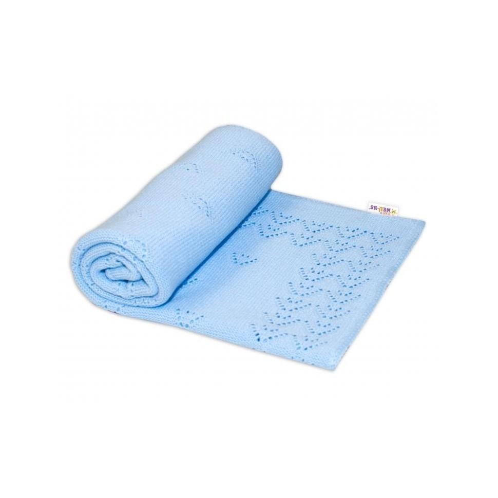 Dětská akrylová deka, dečka Baby Nellys, 90 x 90 cm - jemný vzor - sv. modrá
