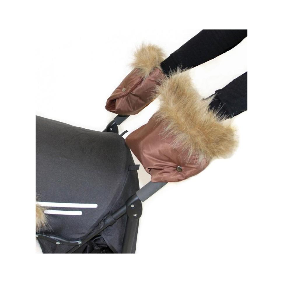 Emitex rukávník ke kočárku/rukavice LUXURY, hnědý