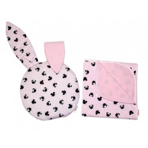 2-dílná sada do kočárku Baby Nellys jersey s oušky, Minnie - růžová