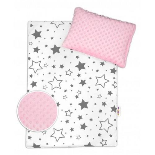 Baby Nellys 2-dílná sada do kočárku s minky - šedé hvězdy a hvězdičky/minky růžová