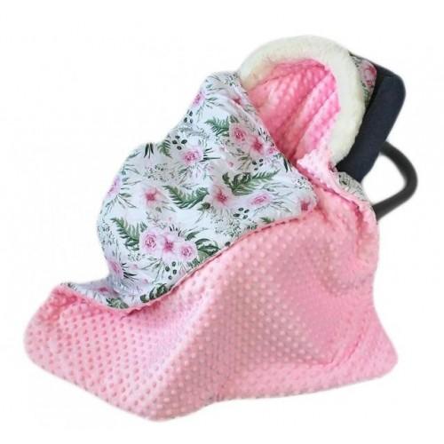 Baby Nellys Bavlněná oboustanná dečka 3v1 s minky a kožešinkou, 90x90 cm, květinky pink