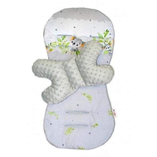 Sada do kočárku Baby Nellys minky, podložka + polštářek - Medvídek Koala, šedá