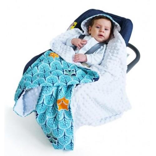 Baby Nellys Luxusní bavlněná dečka 3v1 s minky, 90 x 90 cm, lesík tyrkys, Minky - bílá