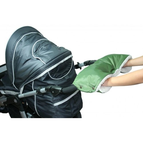 Emitex rukávník ke kočárku, khaki/kožich 50%