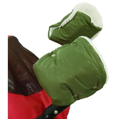Emitex rukávník ke kočárku/rukavice, khaki/kožich 50%