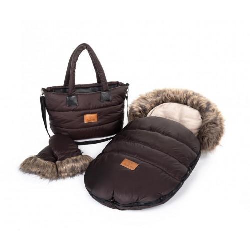 Zimní set HappyBee Trinity - fusak, rukavice, taška Brown