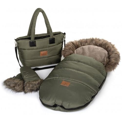 Zimní set HappyBee Trinity - fusak, rukavice, taška Khaki