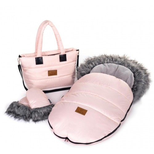 Zimní set HappyBee Trinity - fusak, rukavice, taška Pink