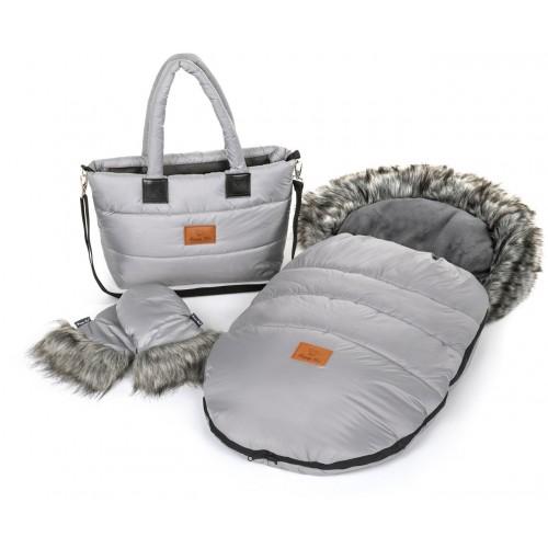 Zimní set HappyBee Trinity - fusak, rukavice, taška Grey