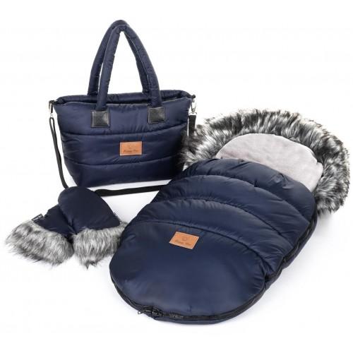 Zimní set HappyBee Trinity - fusak, rukavice, taška Blue