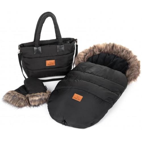 Zimní set HappyBee Trinity - fusak, rukavice, taška Black