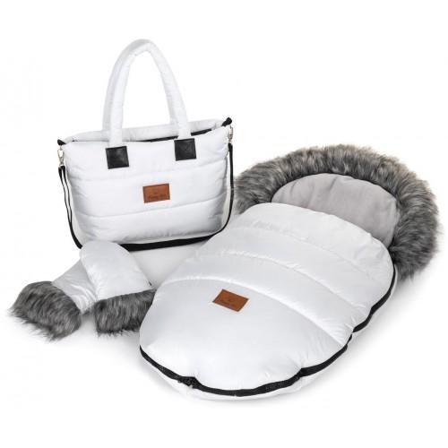 Zimní set HappyBee Trinity - fusak, rukavice, taška White